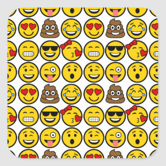 Roliga ansikten för Emoji mönstersinnesrörelse Fyrkantigt Klistermärke