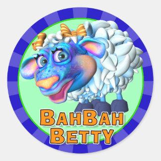 Roliga Bah Bah Betty klistermärkear Runt Klistermärke