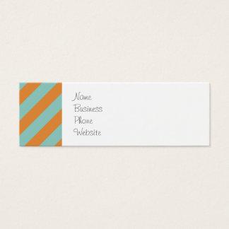 Roliga blått och orange Diagonalrandmönster Litet Visitkort