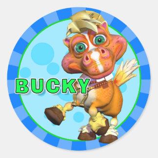 Roliga Bucky klistermärkear Runt Klistermärke