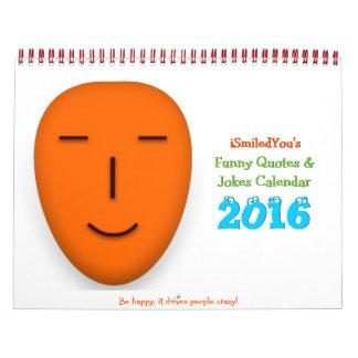 Roliga citationstecken och kalender 2016 för