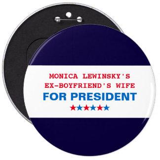 Roliga den enorma Hillary Clinton politiskt humor Jumbo Knapp Rund 15.2 Cm