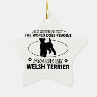 Roliga designer för welsh terrier julgransprydnad keramik