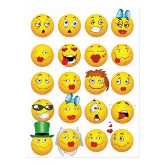 Roliga Emoji ansikten kyler enorma leenden Vykort