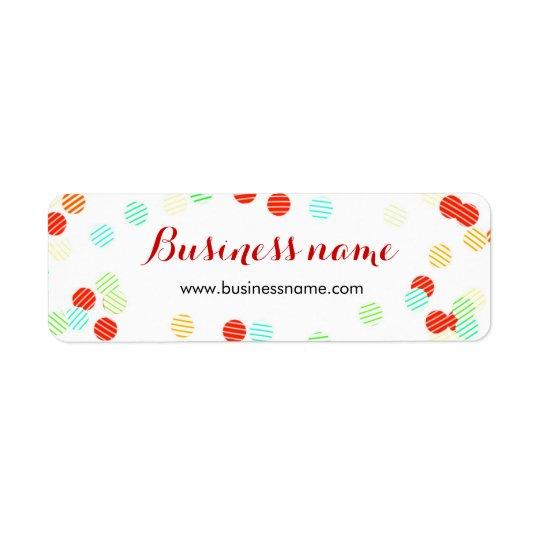 Roliga färgrika etiketter för konfettiaffärsnamn returadress etikett