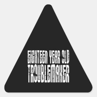 Roliga födelsedagar: Årig bråkmakare för en arton Triangelformat Klistermärke