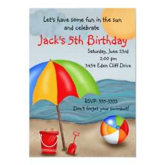 Roliga födelsedaginbjudningar för strand 12,7 x 17,8 cm inbjudningskort
