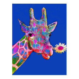 Roliga giraffsolrosfärger vykort