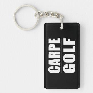 Roliga golfare citerar skämt: Carpe Golf Rektangulärt Enkelsidig Nyckelring I Akryl