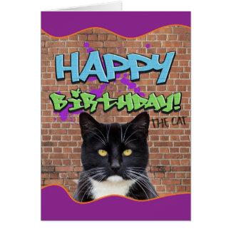 Roliga grattis på födelsedagengrafitti från katten hälsningskort
