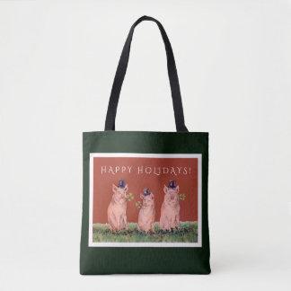 Roliga grisar som ha på sig top hathelgdag, hänger tygkasse