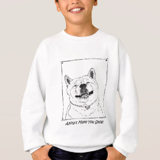 roliga gulliga akita som ler realisthundkonst t-shirt