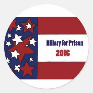 Roliga Hillary för politisk konst för fängelse Runt Klistermärke