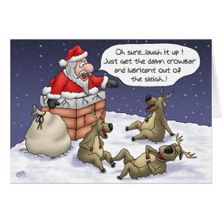 Roliga julkort: Fastnat Hälsningskort