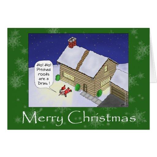 Roliga julkort: Sluttande tak Hälsningskort