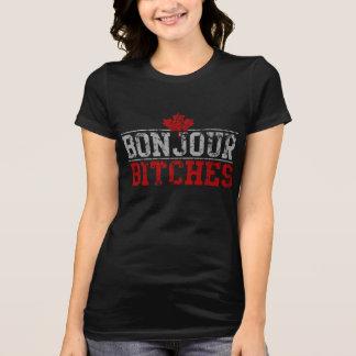 """Roliga kanadensiska """"Bonjour satkäringar T Shirt"""
