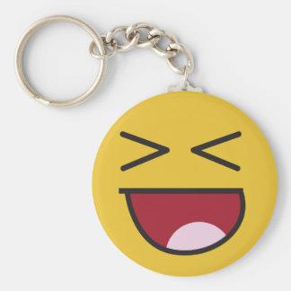 Roliga korsade synade skratta Emoji Rund Nyckelring