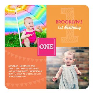 Roliga moderna kvadrerar EN 1st födelsedag för Fyrkantigt 13,3 Cm Inbjudningskort