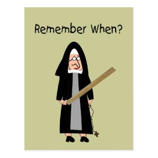 """Roliga nunnakort: Nunnor bar linjaler """", Vykort"""
