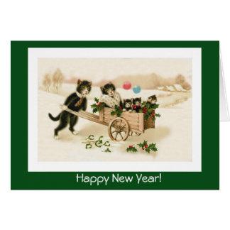 Roliga nytt års för kattanpassadevintage kort