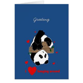 Roliga Pandas som leker tecknader Hälsningskort