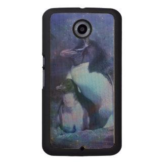 Roliga pingvin i smokingar telefonskal trä