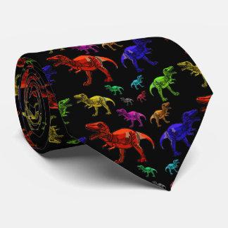 Roliga regnbågeT-Rexs svart man Tie Slips