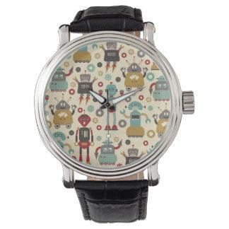 Roliga Retro robotar illustrerat mönster (kräm) Armbandsur