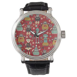 Roliga Retro robotar (rött) illustrerat mönster, Armbandsur
