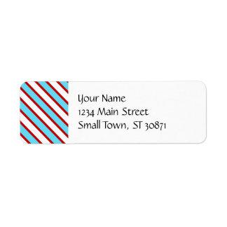 Roliga röda turkosblått och diagonala randar för returadress etikett