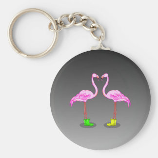 Roliga romantiska rosa Flamingos som ha på sig Rund Nyckelring