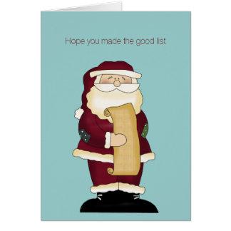 Roliga Santa med listar julhälsningkortet Hälsningskort