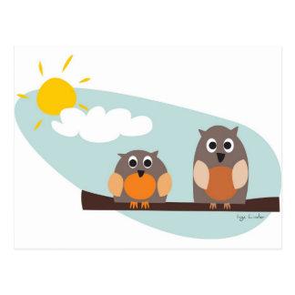 Roliga ugglor på gren på solig dag vykort