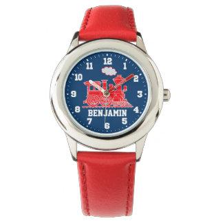 Roliga ungar som namnges rött blåtttågarmbandsur armbandsur