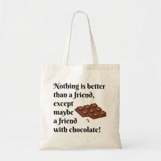 Roliga vänner med chokladsvarttext tygkasse