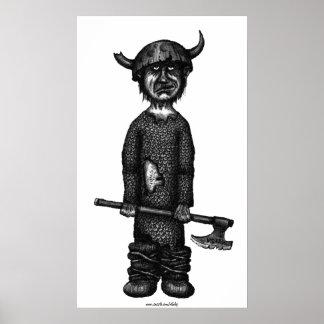 Roliga viking skrivar bläckteckningkonst print