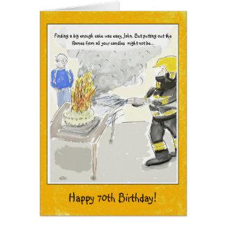 Roligt 70th för manar födelsedagkort: Stearinljus… Hälsningskort