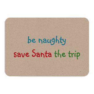 Roligt beställnings- Santa för julhelgdagkort 8,9 X 12,7 Cm Inbjudningskort