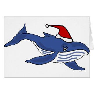 Roligt blåttval i konst för Santa hattjul Hälsningskort