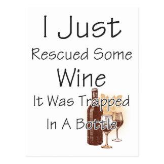 Roligt citationstecken om vin som dricker vykort