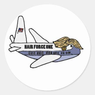 Roligt Donald Trump presidents- flygplan Runt Klistermärke