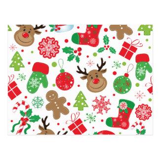 Roligt färgrikt Christmassy mönster Vykort
