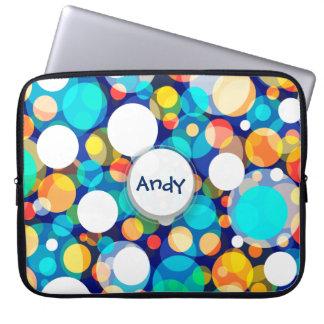 Roligt färgrikt pricker mönster (ungar, firanden) laptop sleeve