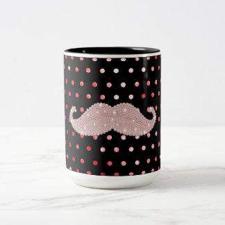 Roligt flickaktigt rosa mönster för Bling mustasch Två-Tonad Mugg
