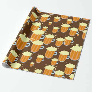 Roligt Foamy ölmuggmönster i brunt Presentpapper
