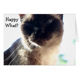 Roligt födelsedagkort med katten: Lycklig vad? Hälsningskort