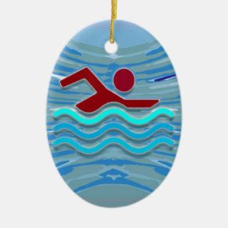 ROLIGT för bassäng NVN695 för hjärta för Ovalformad Julgransprydnad I Keramik