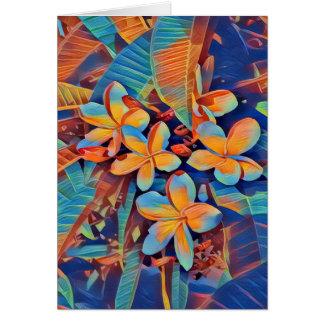 Roligt-fylld tropisk frangipani hälsningskort