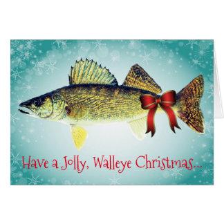 """Roligt """"ha Jolly jul för en Walleye """", Hälsningskort"""