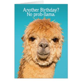 Roligt ingen vishet för Problama Llamafödelsedag Hälsningskort